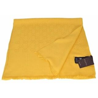 "Gucci 165904 Women's Golden Yellow Wool Silk GG Guccissima Scarf - 70"" x 18"""