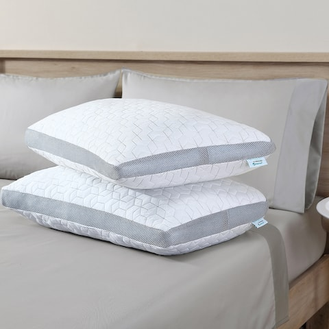 Modern Threads Bamboo Pillow With Feather Touch Fill - White