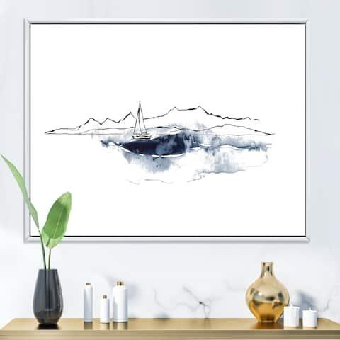 Designart 'Minimalistic Seascape With Black Mountains & Boat' Nautical & Coastal Framed Canvas Wall Art Print