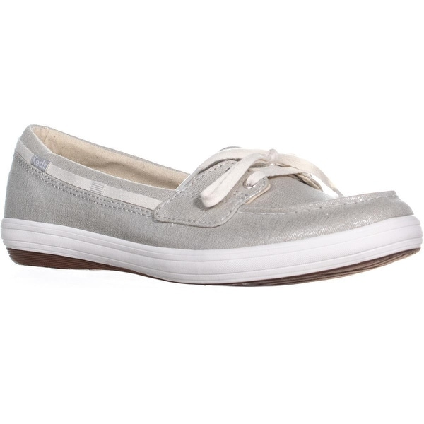 8e2725503d Shop Keds Glimmer Lace Up Boat Shoes, Metallic Silver - Free ...