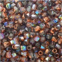 True2 Czech Fire Polished Glass, Faceted Round Beads 2mm, 50 Pieces, Crystal Copper Rainbow