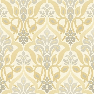 Brewster 2535-20647 Fusion Yellow Ombre Damask Wallpaper