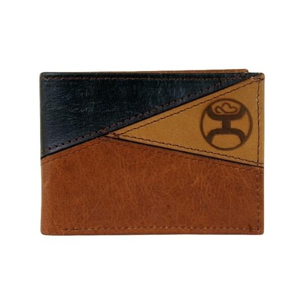 "HOOey Western Wallet Mens Burn Logo Signature Bifold Brown - 4"" x 3/4"" x 3 1/2"""