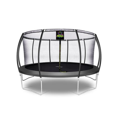 Moxie Pumpkin-Shaped Outdoor Trampoline, 15 FT - Charcoal - 15 FT