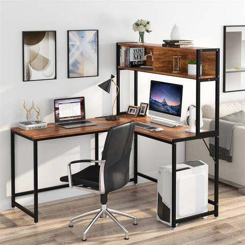 55 Inches L-Shaped Desk with Hutch Bookshelf, Home Office Corner Computer Desk