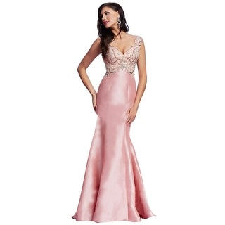 Mac Duggal Rhinestone Embellished Mermaid Prom Evening Gown Dress - 0