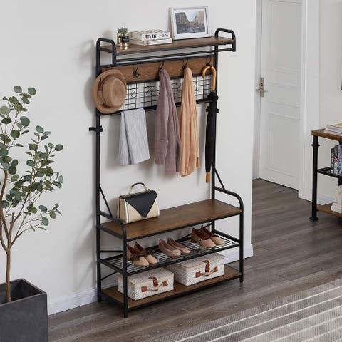Brown Finish 5-In-1 Entryway Hall Tree with Shoe Bench