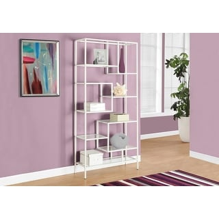 Monarch 7159 White Metal With Tempered Glass 72nch Bookcase