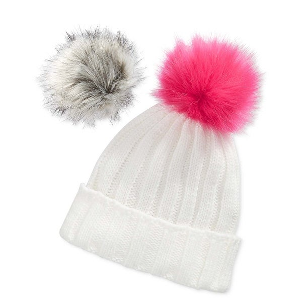Betsey Johnson xox Trolls Ivory Cuff Beanie Hat With Removable Pom Pom