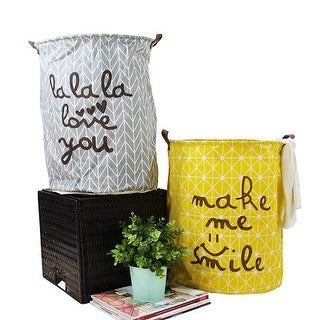 G Home Collection Gray and Yellow Happy Smile Fabric Laundry Basket with Handles (Set of 2)