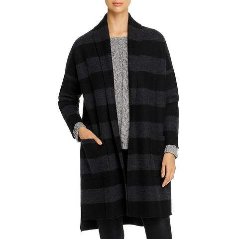 Eileen Fisher Womens Long Coat Merino Wool Open Front - Charcoal/Black - XL