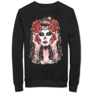 Ring of Fire Day of the Dead Fleece Crewneck Sweatshirt Black Small S