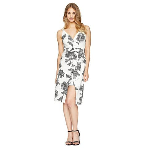 bebe White Black Floral Wrap Dress