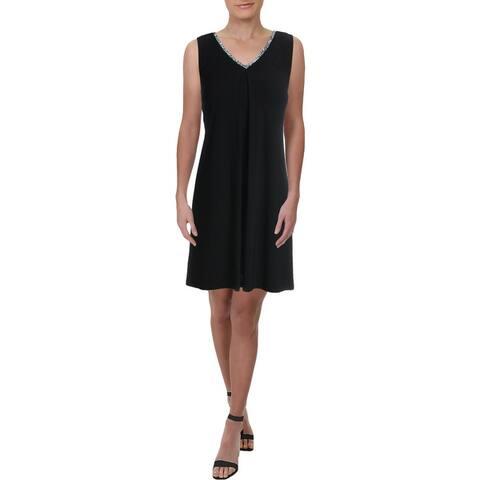 MSK Womens Petites Cocktail Dress Rhinestone Slit Back - Black