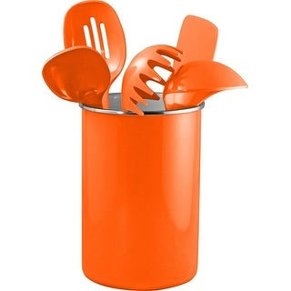 Reston Lloyd Enamel on Steel Utensil Holder & 5 Piece Utensil Set, Orange