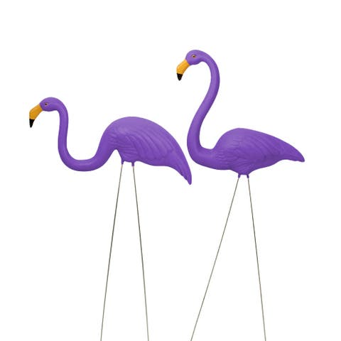 """Set of 2 Tropical Purple Flamingo Outdoor Lawn Stakes 33"""""""