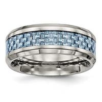 Stainless Steel Polished Blue Carbon Fiber Inlay Ring (8 mm) - Sizes 7 - 13