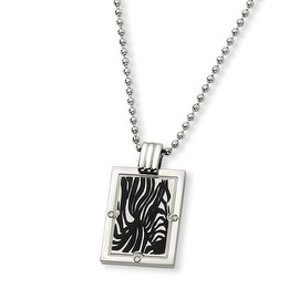Chisel Titanium with Black Enamel and Diamond Necklace (2 mm) - 24 in