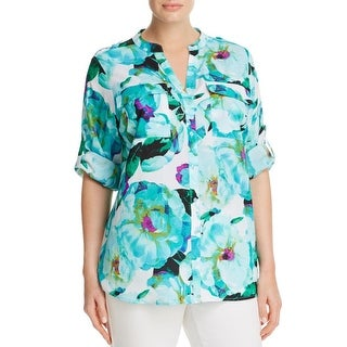 Calvin Klein Womens Plus Blouse Printed Long Sleeves