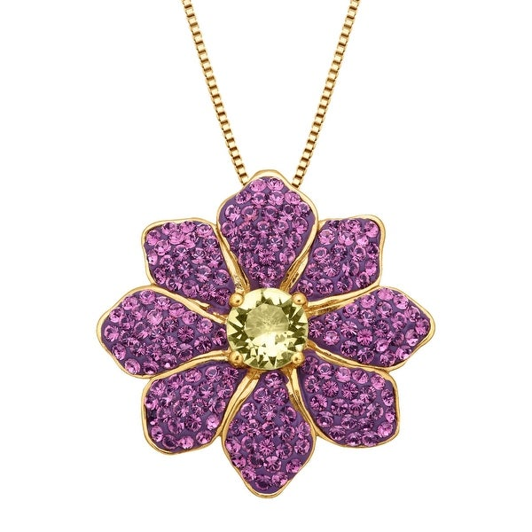Crystaluxe Flower Pendant With Swarovski Elements Crystals in Gold-Plated Sterling Silver - Yellow