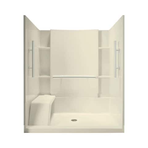 """Sterling 72290103-N 74-3/4"""" Shower Module with Shower Seat and Nickel Grab Bars"""