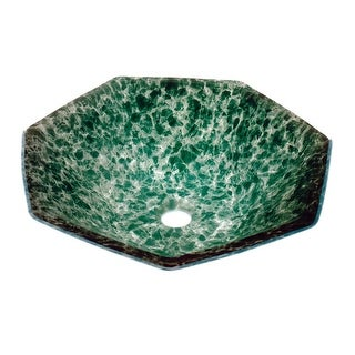 Tempered Glass Vessel Sink with Drain, Green Crystal Heptagon Bowl Sink