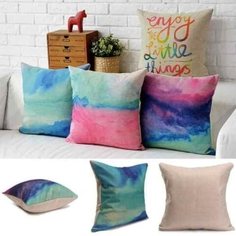 1 Piece New Abstract Watercolor Cloud Paint Throw Pillow Case Cotton Linen Cushion Cover