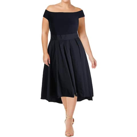 Lauren Ralph Lauren Womens Orinda Evening Dress Pleated Hi-Low