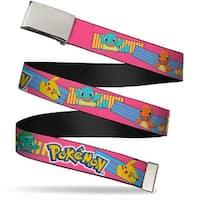 Blank Chrome Buckle Pok�mon Pikachu & Kanto Starter Pok�mon Stripe Web Belt