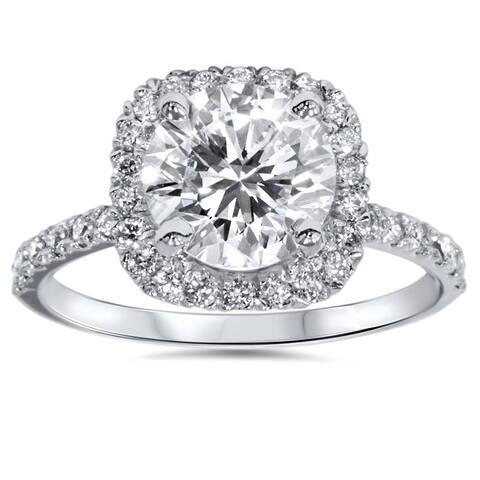 Platinum 1 ct Diamond Engagement Ring Cushion Halo Ring