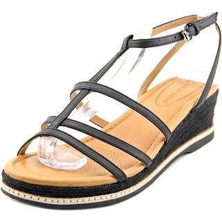 Corso Como Codi Women Open Toe Leather Black Wedge Sandal