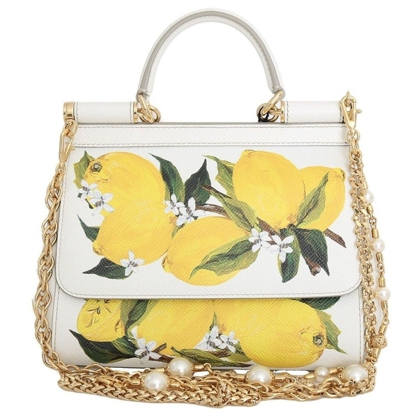 Dolce  amp  Gabbana MISS SICILY Satchel White Lemon Print Leather Handbag 4eeff684d5