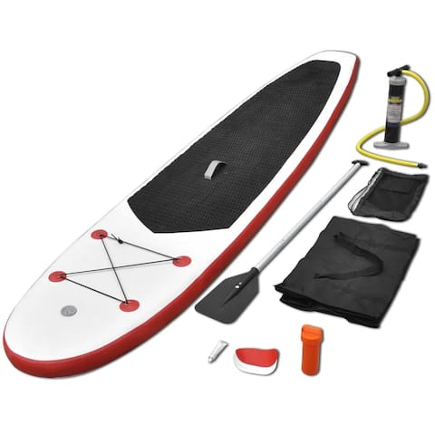 vidaXL Inflatable Stand Up Paddleboard Set Red and White