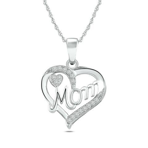 Cali Trove 10kt White Gold 1/15 CTTDW Diamond MOM Heart Pendant