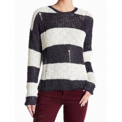 Cotton Emporium Womens Striped Crochet Knitted Sweater