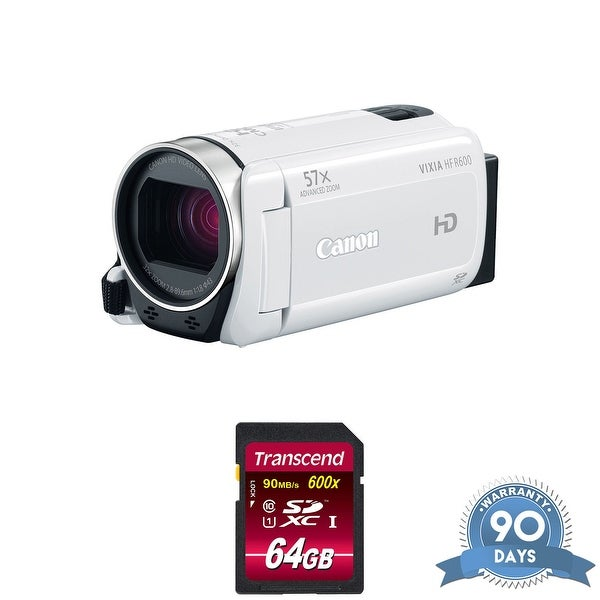 Canon VIXIA HF R600 Full HD Camcorder (White) - with Memory Card -