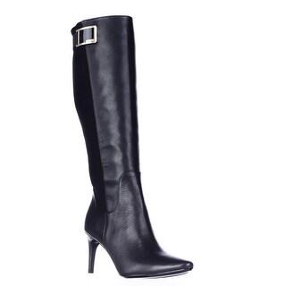 Calvin Klein Jaidia Wide Calf Harness Knee High Dress Boots - Black