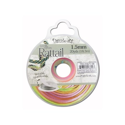 Dazzle It Rattail Cord 1.5mm 20yd Rainbow