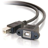 """C2G 28072 C2G 1.5ft Panel-Mount USB 2.0 B Female to B Male Cable - Type B Female USB - Type B Male USB - 1.5ft - Black"""