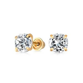 .25CT Tiny Simple Minimalist Round Cubic Zirconia Solitaire CZ Stud Earrings For Women For Men Real 14K Gold 3MM