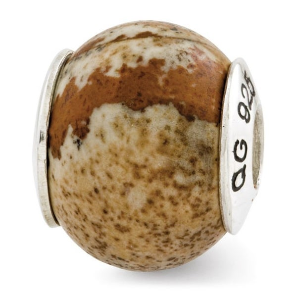 Sterling Silver Reflections Picture Jasper Natural Stone Bead (4mm Diameter Hole)