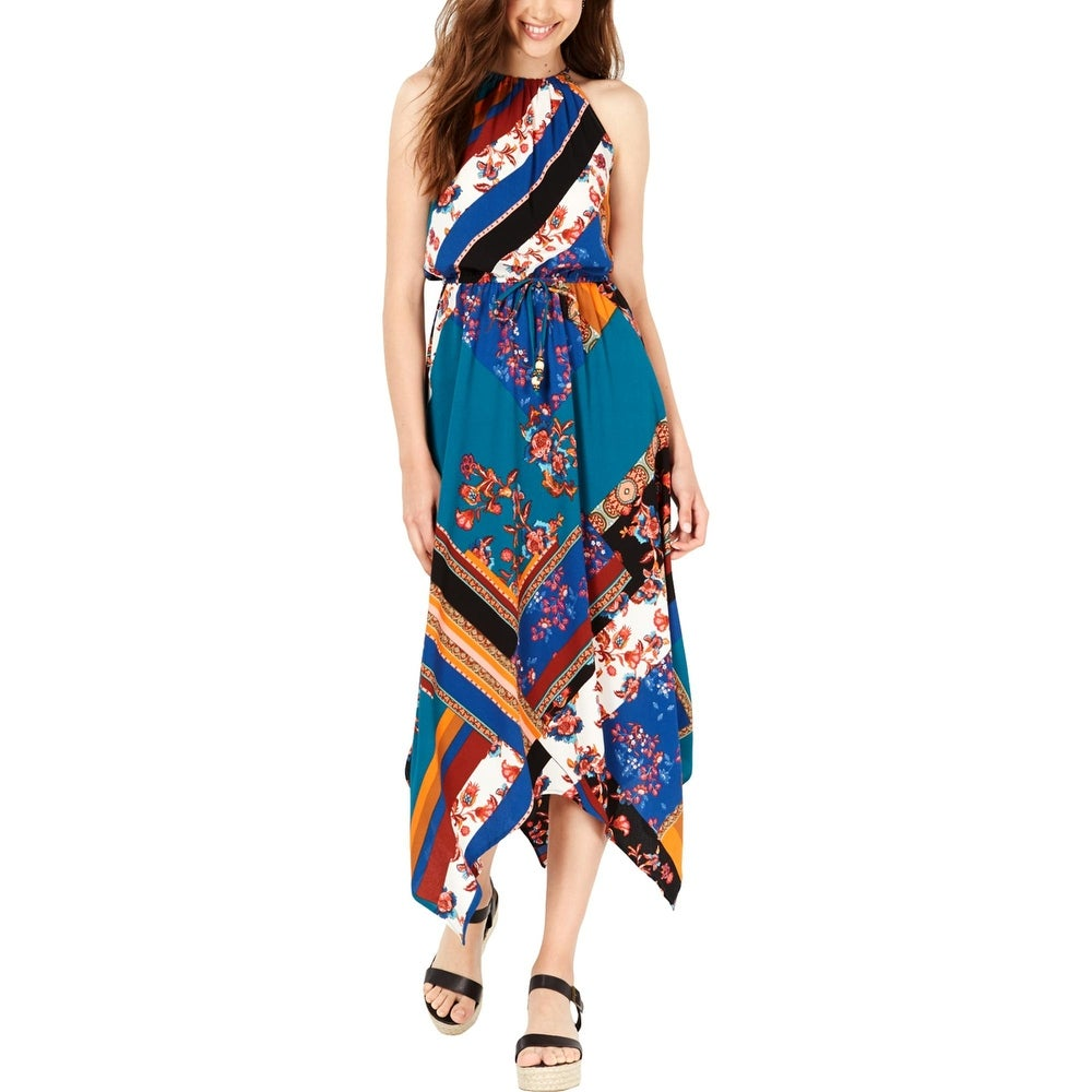 Fish Bowl Womens Halter Dress Printed Sharkbite Hem - Royal/Teal
