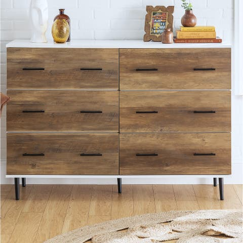 52-inch 6-Drawer Buffet Sideboard Cabinet