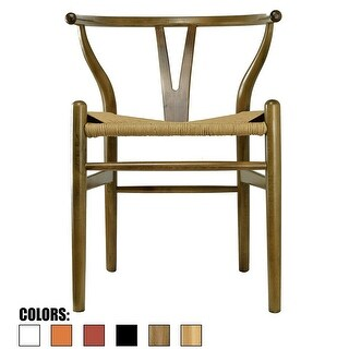 2xhome Walnut Wood Wishbone Modern Style Armchair - Dining Room Chair with Natural Papercord Woven Seat
