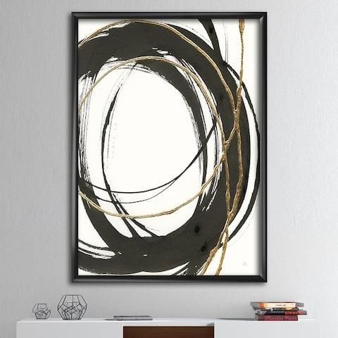 Designart 'Gold Glamour Circle III' Posh & Luxe Framed Art Print