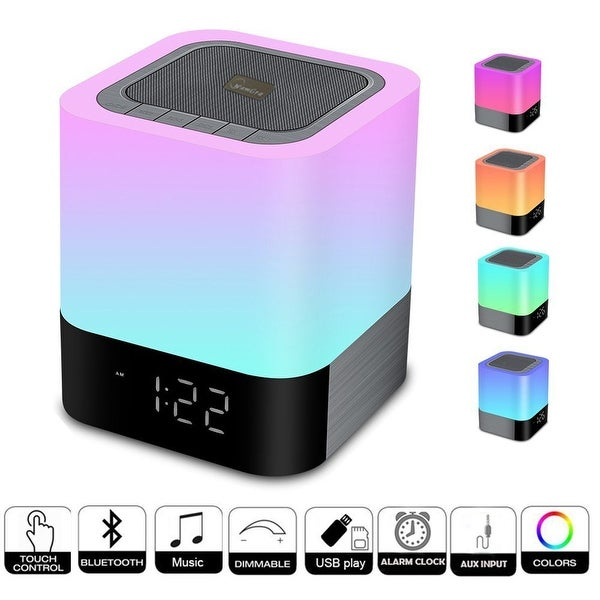 TechComm DY28 Wireless Bluetooth Speaker with Touch-activated LED Lamp, Digital Clock and Hands-free Calling