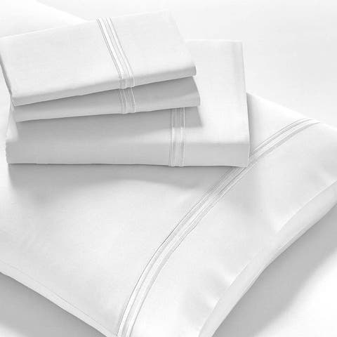 "Luxury Tencel Bed Sheet Set Mattresses 18"" Deep Twin XL White"