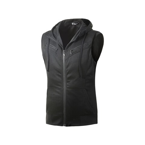Unique Bargains Men Kangaroo Pocket Zip Up Drawstring Hooded Vest