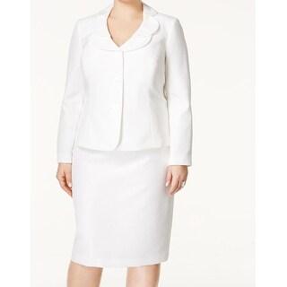 Le Suit NEW White Ivory Textured Women's Size 24W Plus Skirt Suit Set