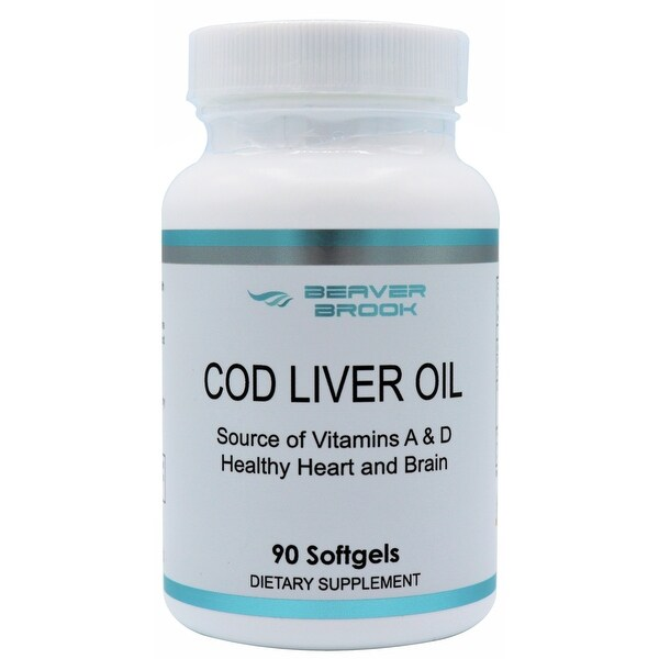 Beaver Brook Cod Liver Oil 1,200mg Healthy Heart and Brain - Source of Vitamins A, D and Omega 3 - 90 Softgels